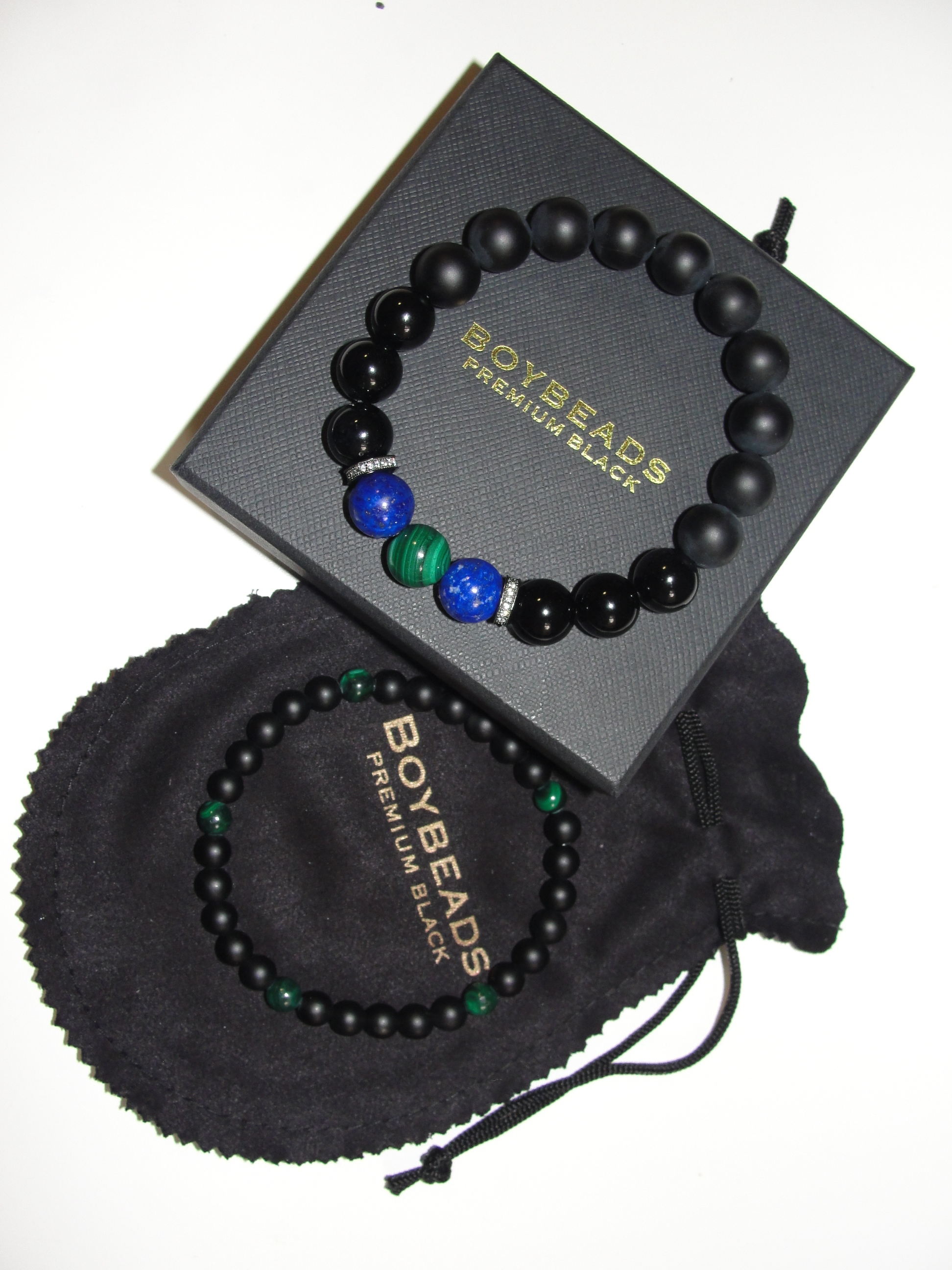 BOYBEADS GREEN MALACHITE LAPIS MENS BLACK ONYS BEADED BRACELET NYC HARLEM